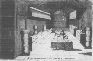 First chemical laboratory at Utrecht University, founded 1695. From: J.C. Barchusen, Pyrosophia (Leiden, 1698).