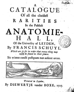Title page of an English visitor's catalogue to the Leiden Anatomical theatre, 1727.