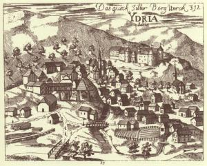 Copper engraving of Idrija, including the mercury mine, by Janez Vajkard Valvasor (published in his The Glory of the Duchy of Carniola), 1689