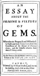 Title page of Robert Boyle's 1673 'An essay, about the origine and virtue of gems.'