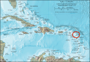 Antigua is a Caribbean island. The graveyard of the Royal Naval Hospital is near the historical site of Nelson's Dockyard, in the south-east of the island.