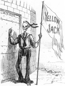 Yellow fever was a big problem in harbours in the eighteenth and nineteenth century. Here 'Yellow Jack' is shown knocking on the city gates of New York City. NY suffered a yellow fever epidemic in 1793.