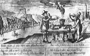 "A seventeenth century view of the Rhine Valley. The Latin legend reads: ""is it sweet to drink bad wine from a golden cup? - I'd rather drink good wine from a glass"". Note that when applied to wines, ""plumbeus"", literally leaden, has the meaning of poor or bad, here and in classical Latin. Source: http://www.nicks.com.au/Index.aspx?link_id=76.1221"