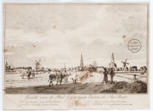 "View of the city of Groningen from the side of the Aa gate (the Aa is a river), 1750-1850.  The subscript reads: ""This is Groningen, jewel of the  history journals because of its heroics. Famous for its diligence and rich growth, it is called the country's crown jewel."" Courtesy of Leiden University Library."