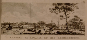 """The Castle and the Laboratory at Batavia"" From: Batavia de hoofdstad van Neêrlands O. Indien, Amsterdam, 1782. Courtesy of the Nationaal Archief."