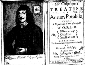 Frontispice of Nicolas Culpeper's 1565 Aurum Potabile