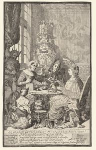 Ladies drinking tea, Pieter van den Berge, ca. 1694 - 1737. The verse at the bottom of the page satirizes the fashion of drinking tea. Courtesy of the Rijksmuseum. http://hdl.handle.net/10934/RM0001.collect.78565