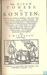 Frontispiece of the first edition of Witgeest's 'New Theatre of Arts', 1659.