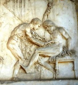A marble relief from Herculaneum. Achilles scrapes rust from his spear into the wound of Telephus. Source: http://www.monsalvat.no/grkmyths.htm
